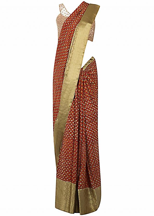 Multi color saree in georgette with jaal print only on Kalki