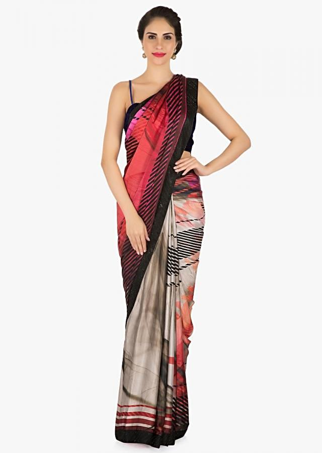 Multi color saree in grey and pink shades with strips and check print only on Kalki