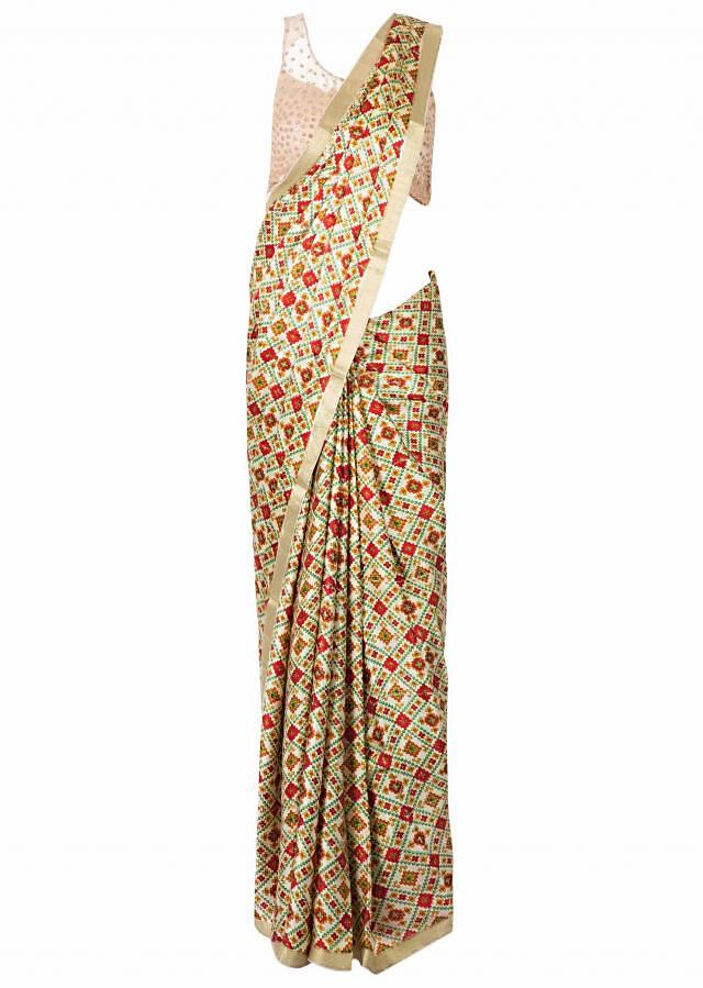 Multi Color Saree In Satin With Geometric Print Online - Kalki Fashion