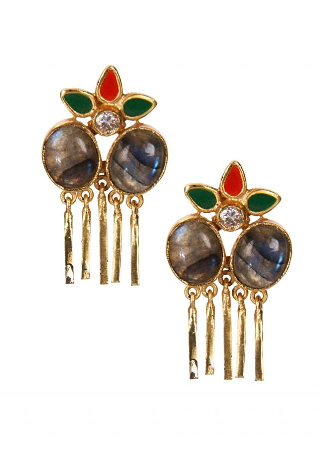 Multi Colored Earrings Engraved In Grey Crystals only on Kalki