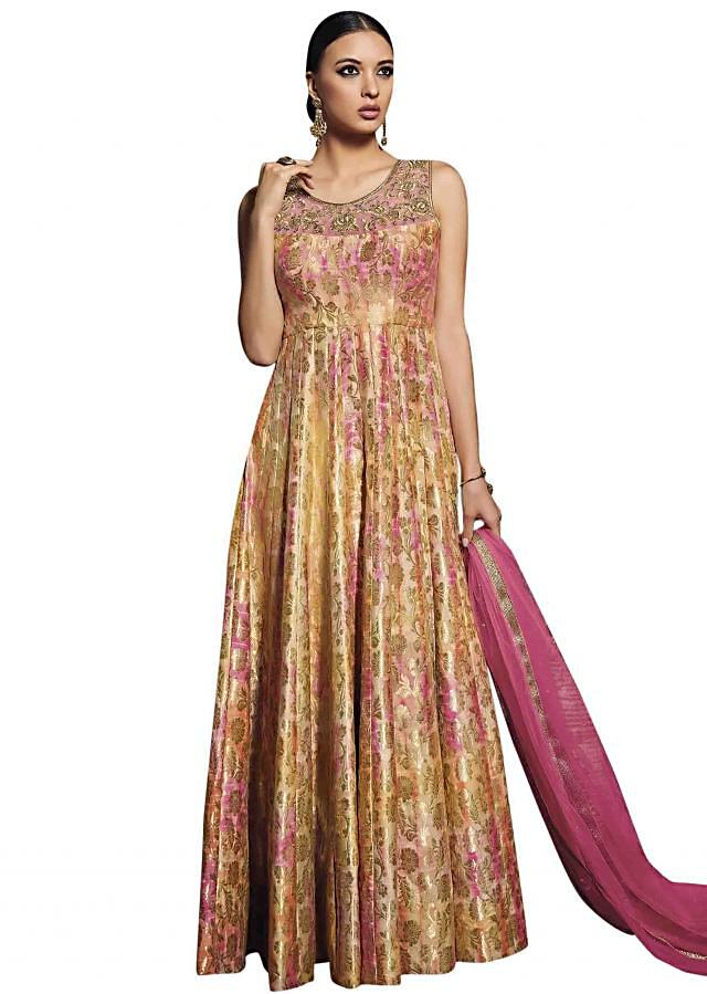 Multi colour suit embellished in rose motif zari embroidery only on Kalki