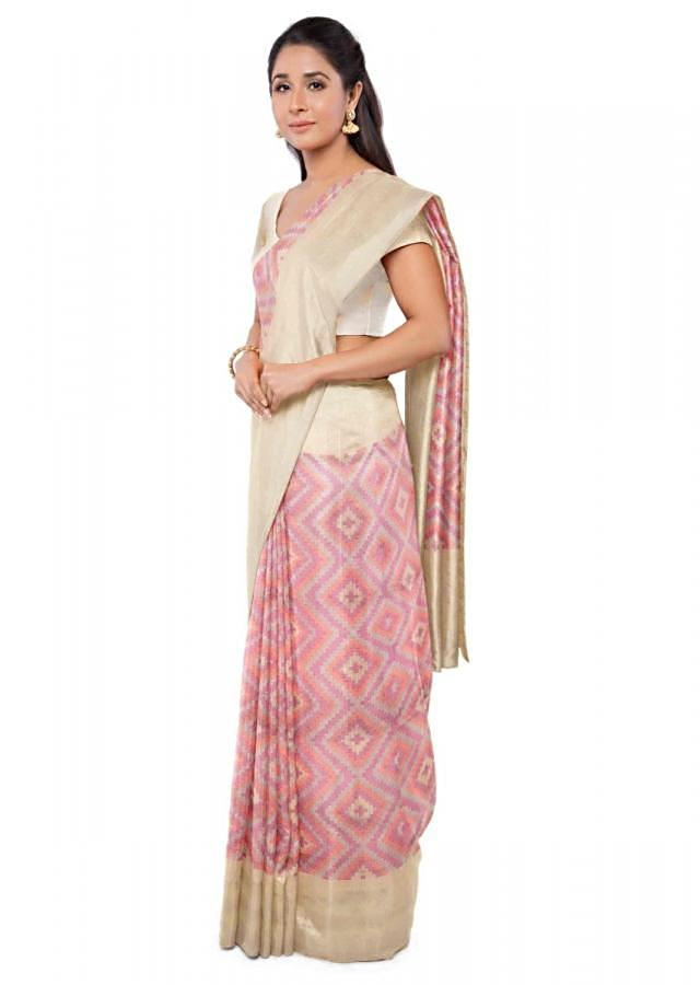 Multicolored Banarasi Saree With Gold Blouse Piece Online - Kalki Fashion