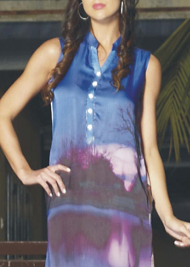 Multicolored abstract printed Satin kurti in cool colors