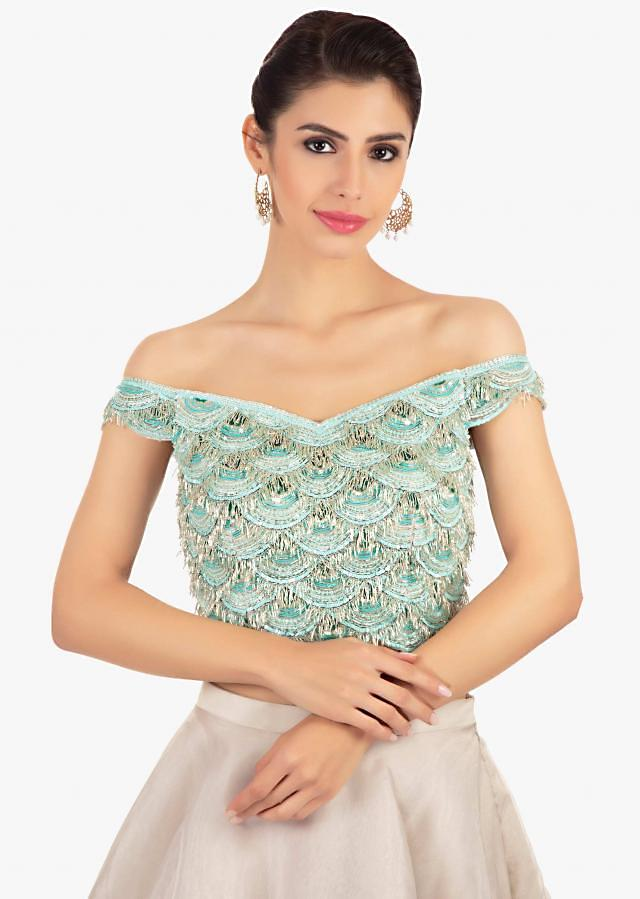 Layered Skirt In Organza Paired With An Off Shoulder Crop Top Online - Kalki Fashion