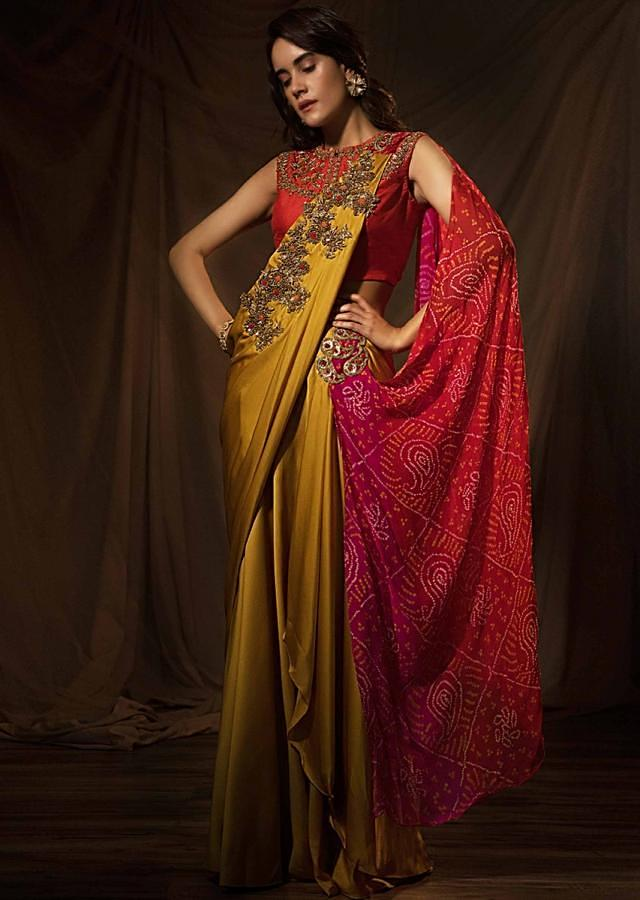Musard satin saree with ready pleats and multi color bandhani printed pallo only on Kalki