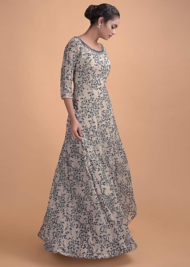 Mushroom Grey Anarkali Gown Chiffon With Resham Embroidery In Floral Jaal Online - Kalki Fashion