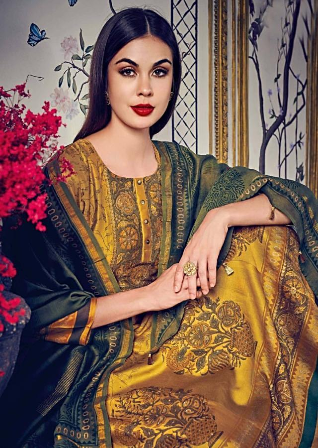Mustard Anarkali Suit In Jaal And Butti Print Further Enhanced In Foil Print Online - Kalki Fashion