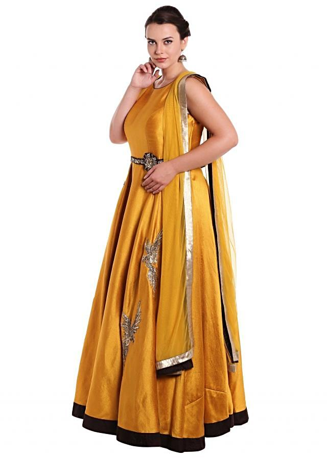 Mustard anarkali suit in sequin embroidery in bird motif only on Kalki
