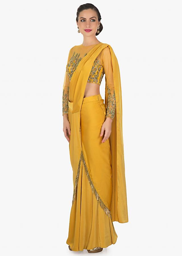Mustard Georgette Saree Gown Designed with Cut Dana and Tassels Only on Kalki