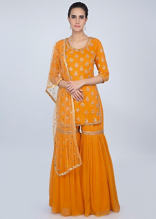 Mustard Sharara Suit In Georgette With Embroidered Butti Online - Kalki Fashion
