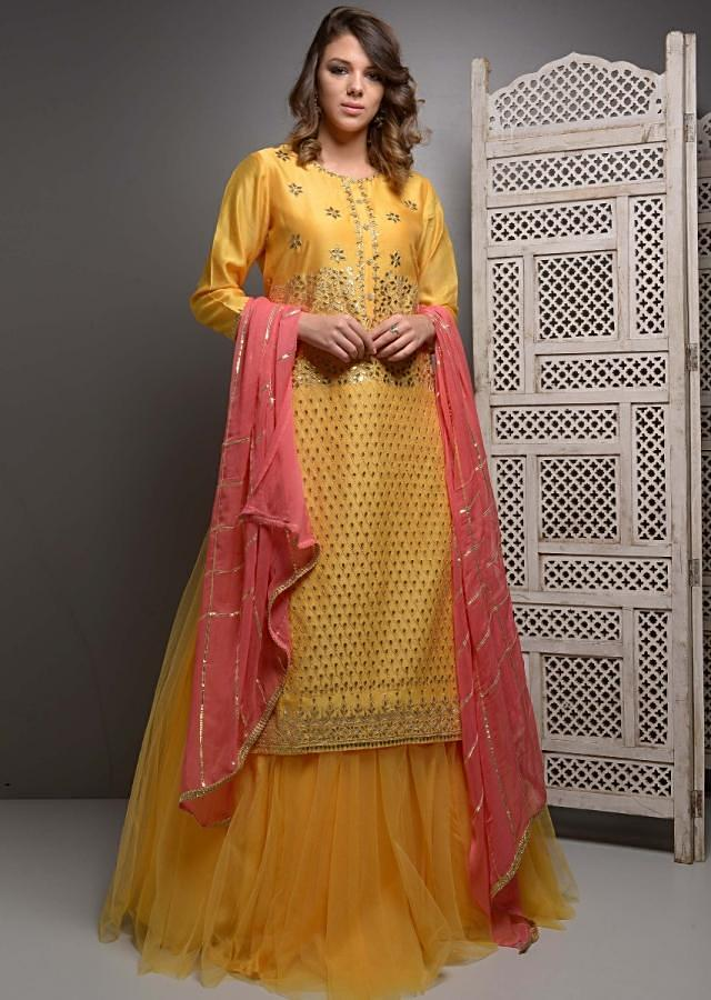 Mustard Suit With Gotta Patti Embroidery And Matching Net Skirt Online - Kalki Fashion