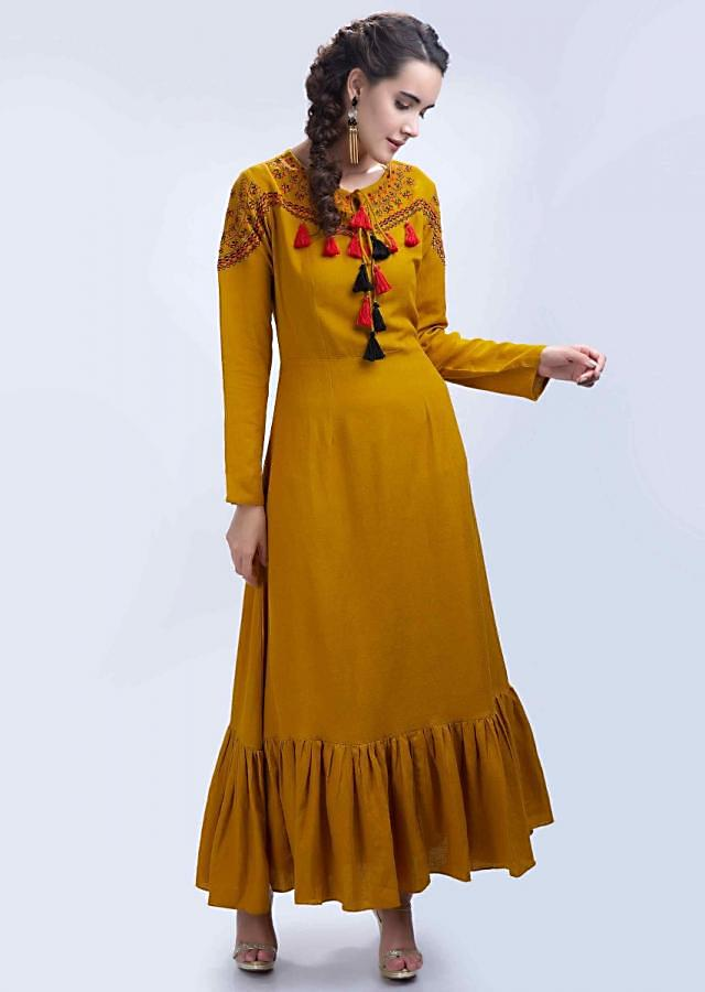 Mustard long cotton tunic dress with red and black thread embroidered neck and shoulder only on Kalki