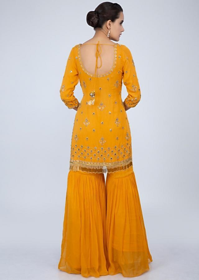 Mustard sharara suit set with embroidery and butti only on Kalki