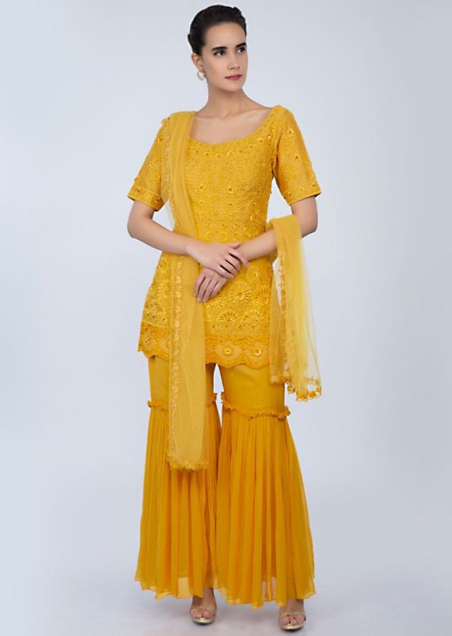 Mustard sharara suit with self thread embroidery only on Kalki