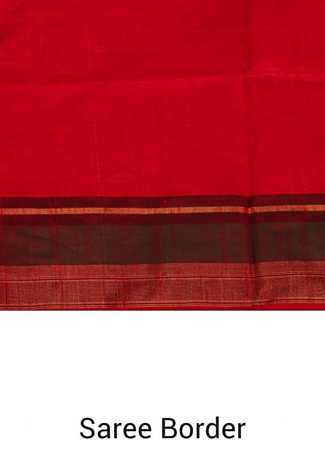 Scarlet red silk saree with warli embroidered pallav only on Kalki