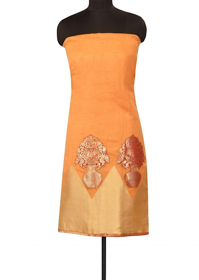 Mustard unstitched suit embellished in patch embroidery only on Kalki