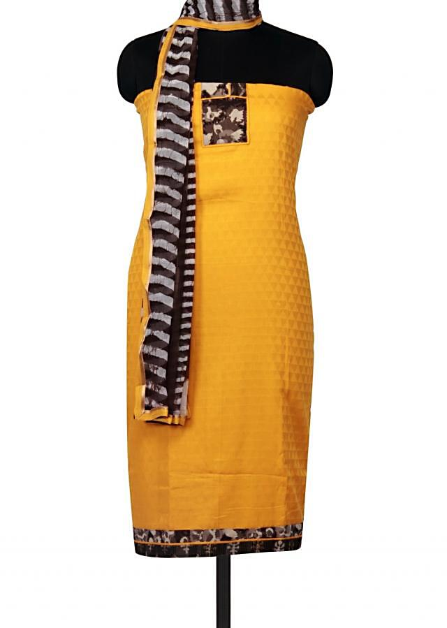 Mustard unstitched suit with printed placket only on Kalki