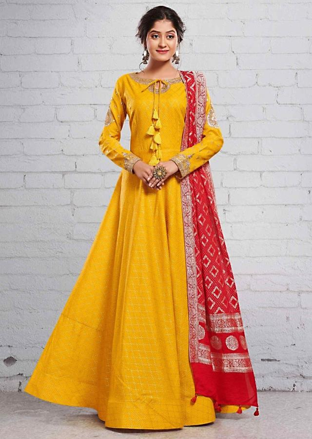 Mustard Yellow Anarkali Suit In Gotta Patch Embroidery And Red Brocade Dupatta Online - Kalki Fashion