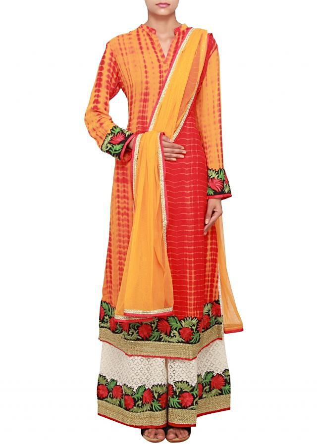 Mustard yellow and red batik straight fit kurti with side slit, embellished in phulkari and sequence work  only on Kalki