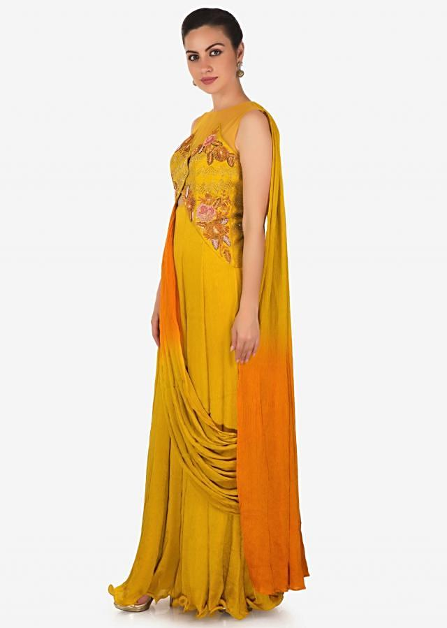 Mustard Yellow Chiffon Gown Crafted with Sequins Only on Kalki