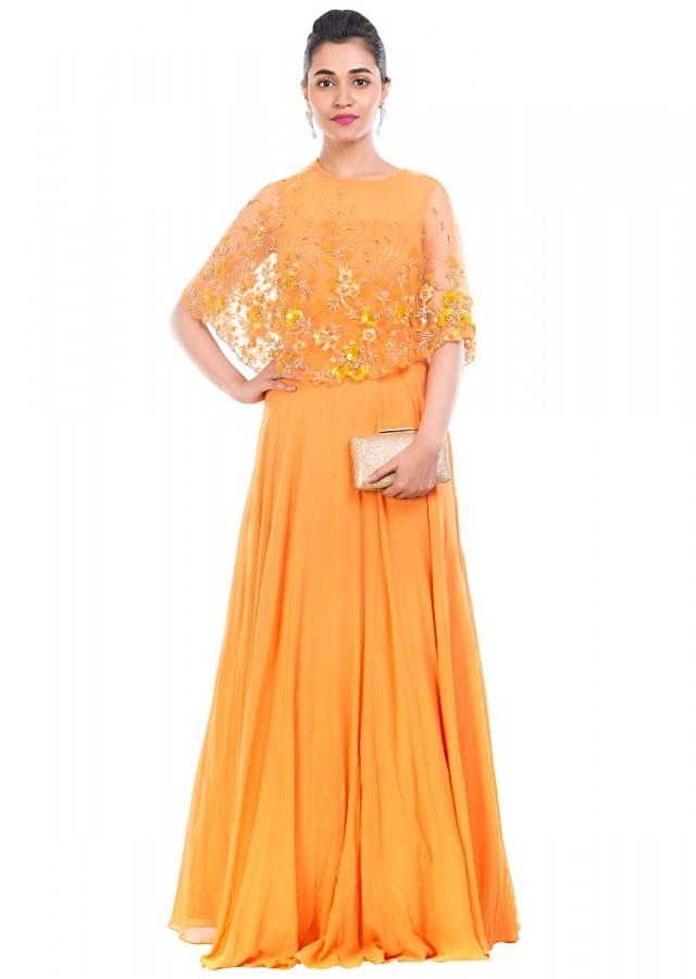 Mustard Yellow Gown With Embroidered Cape Online - Kalki Fashion