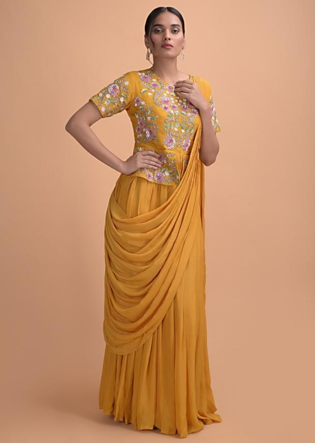 Mustard Yellow Gown With Peplum Waist Bodice And Attached Saree Drape Online - Kalki Fashion
