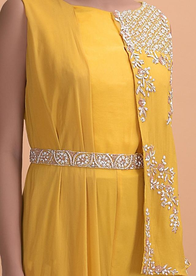 Mustard Yellow Jumpsuit In Crepe With Embellished Attached Half Jacket Online - Kalki Fashion