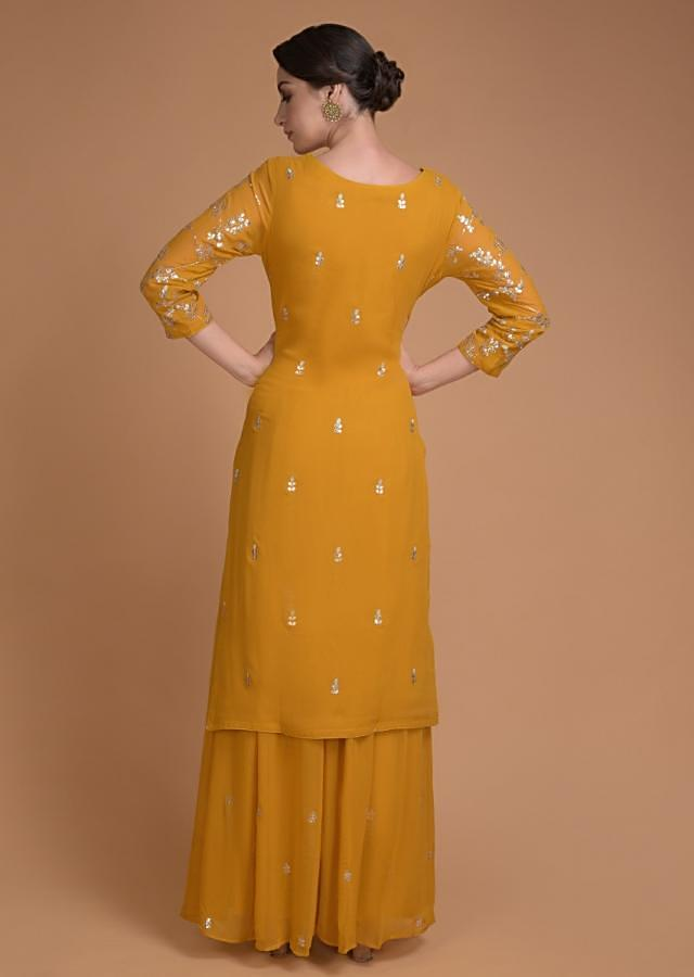 Mustard Yellow Palazzo Suit With Gotta Work In Leaf Pattern Online - Kalki Fashion