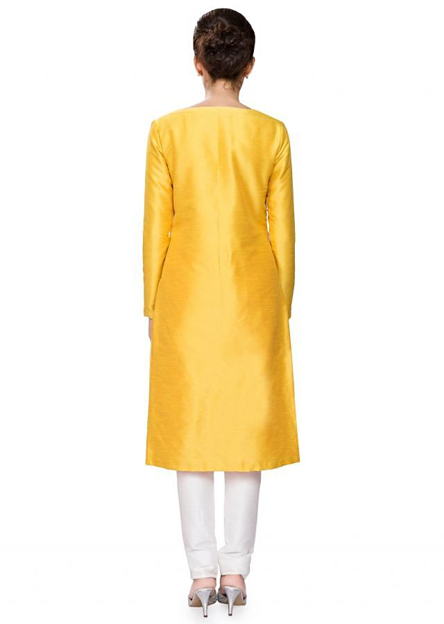 Mustard yellow raw silk tunic with off white embroidery