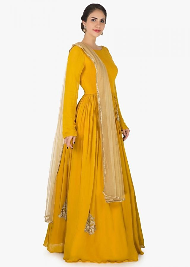 Mustard anarkali suit in georgette embellished with resham and cut dana butti work only on Kalki