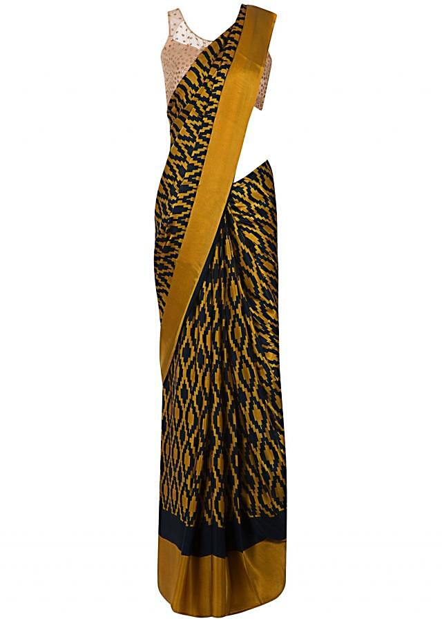 Mustard and navy blue saree in georgette with geometric  print only on Kalki