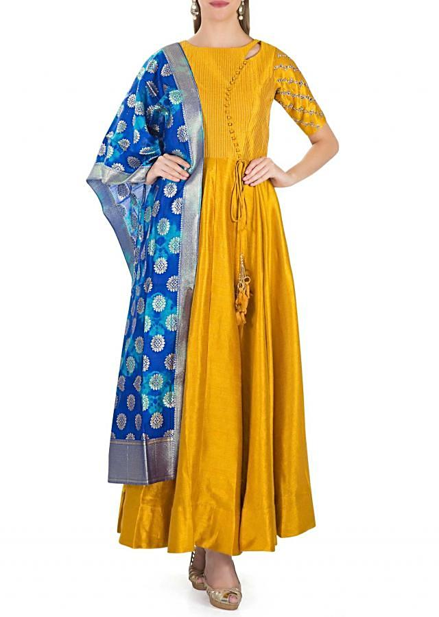 Mustard Cotton Silk Top with Kundan Embroidery and Royal Blue Brocade Silk Dupatta only on Kalki