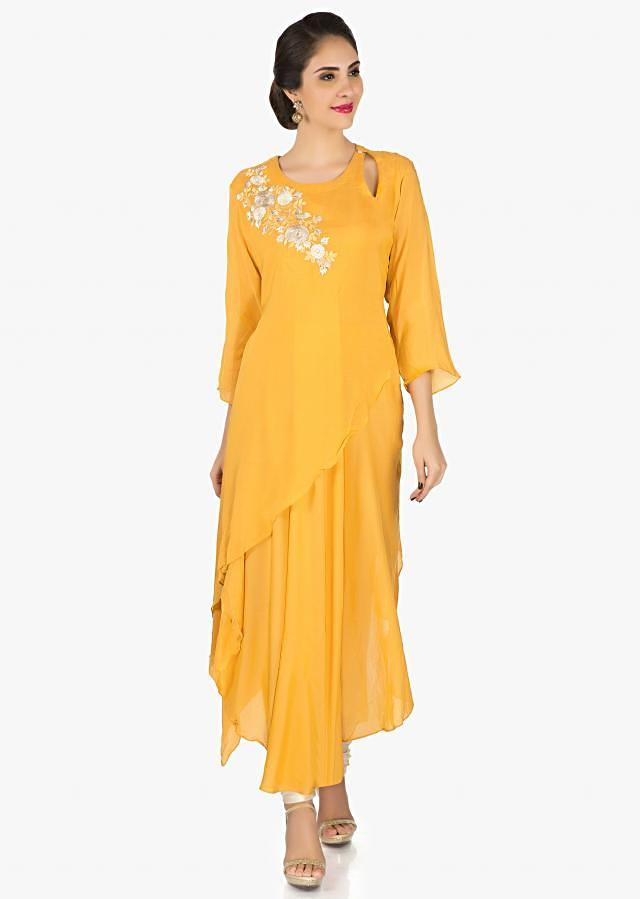 Mustard cotton tunic featuring the elegant resham embroidery work only on Kalki