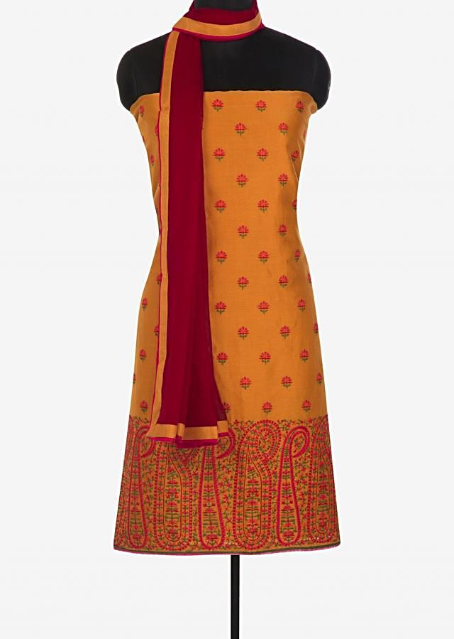 Mustard cotton unstitched suit in floral and paisley motif in resham only on Kalki