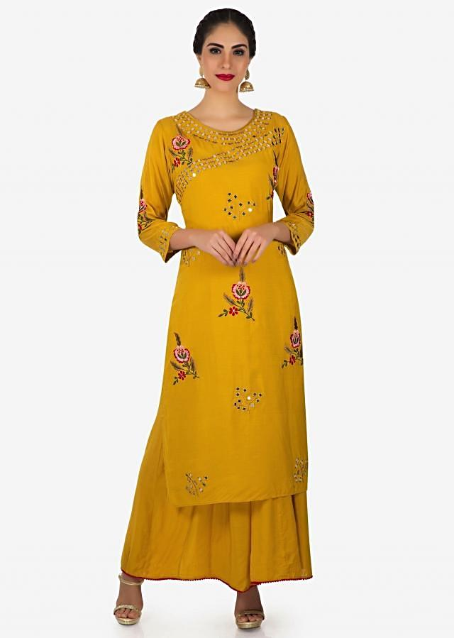 Mustard long tunic in cotton silk with resham and mirror embroidery only on Kalki
