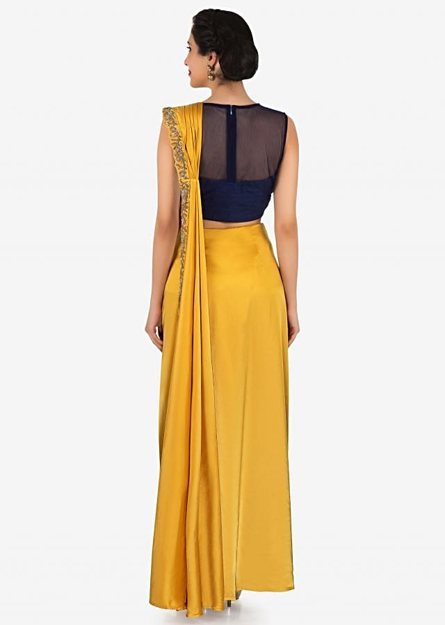 Mustard pre stitched saree with navy blue raw silk blouse only on Kalki
