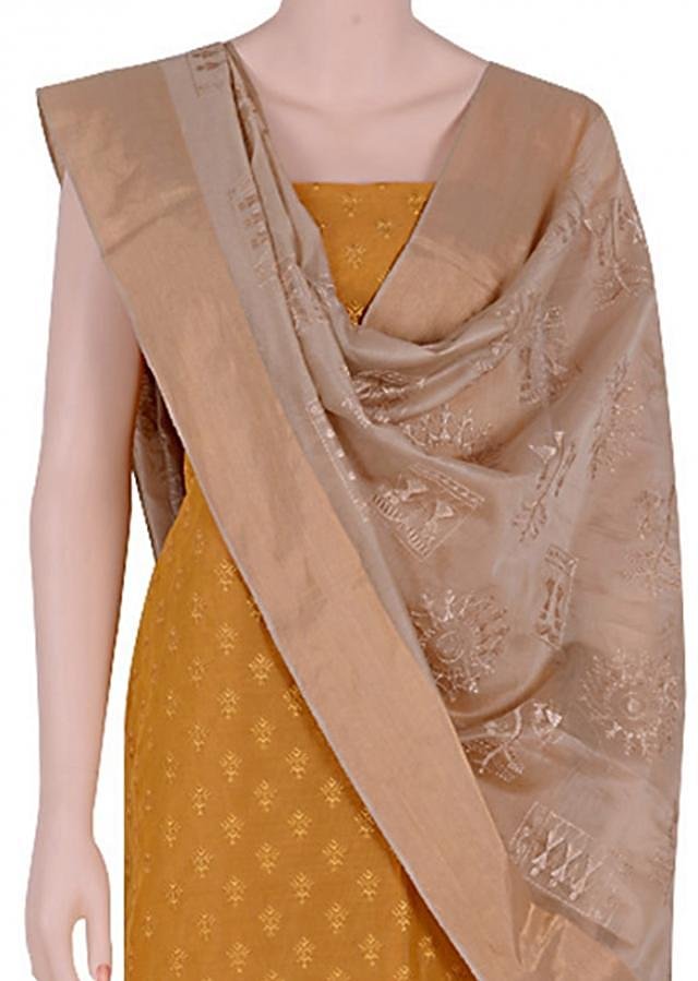 Look elegant in this beautiful mustard ch&eri suit.Matched contrasting ch&eri dupatta resham embroidery.body is highlighted resham pattern.