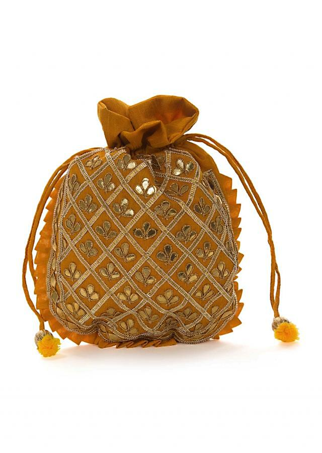 Mustard yellow potli bag beautified in gotta patti embroidered work only on Kalki