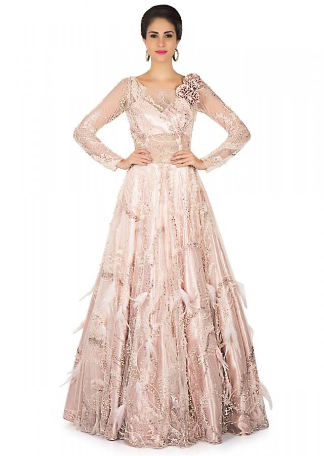 Muted pink gown in sheer embroidered net only on Kalki