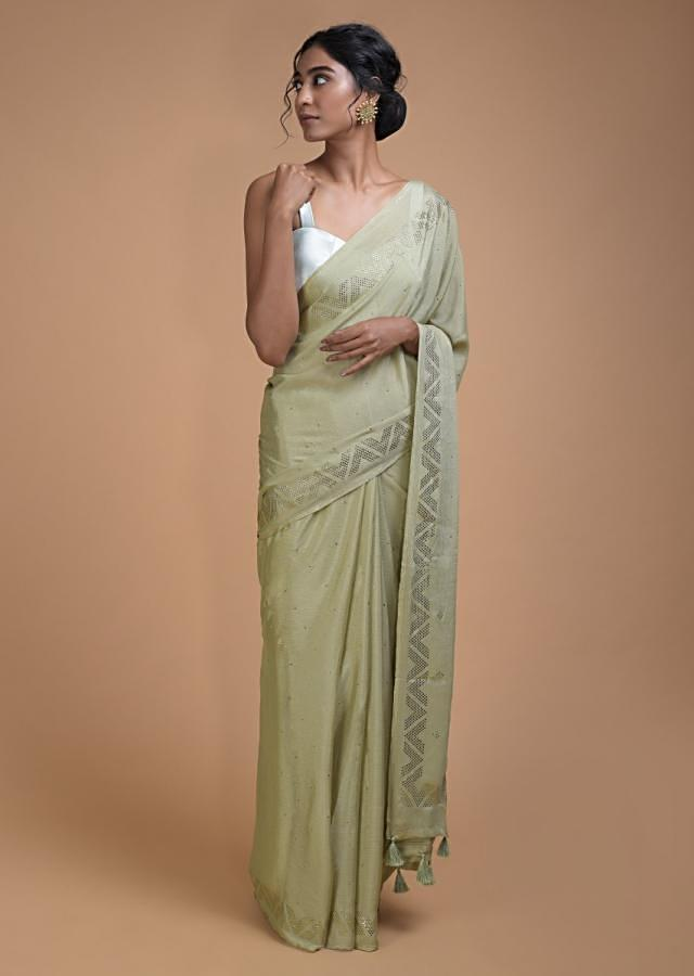 Nature Green Saree In Chiffon With Badla Buttis All Over Online - Kalki Fashion