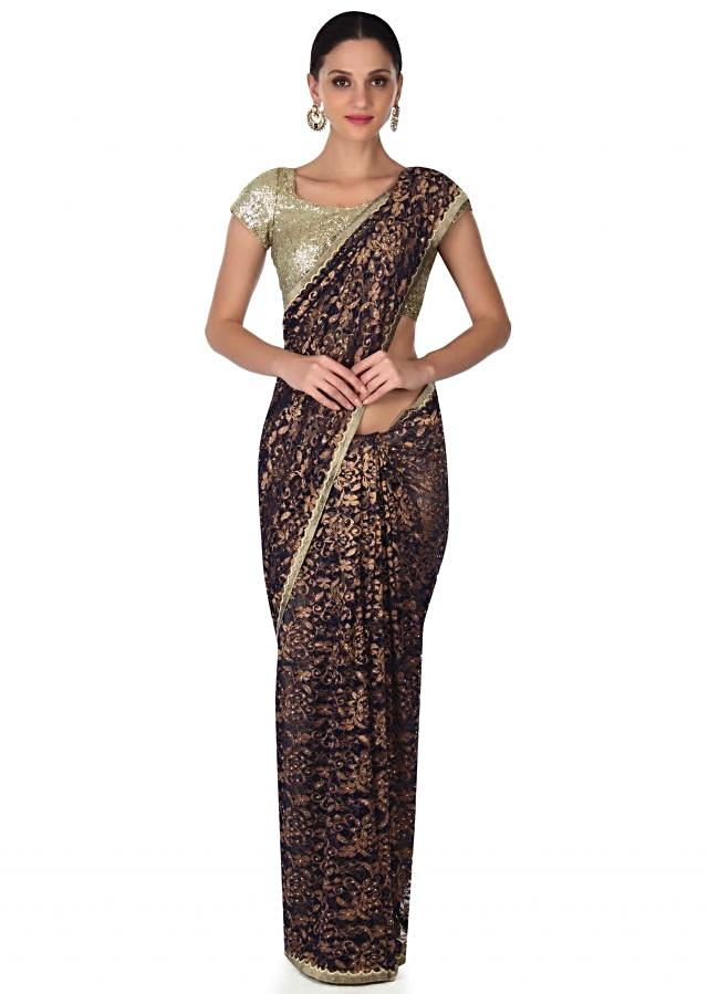 Navy blue saree in lace embellished in kundan only on Kalki