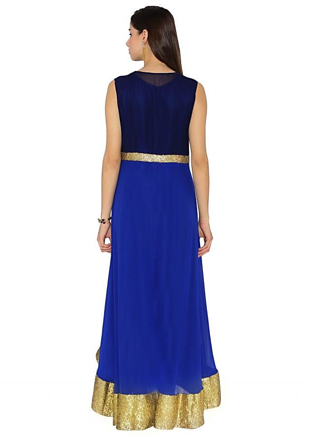 Navy Blue & Royal Blue Georgette Kurti With Sequin Embroidered Hemline And Waist Line And Front Slit Only On Kalki