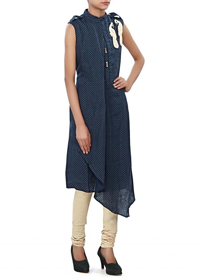 navy blue A line suit enhanced in peacock motif embroidery only on Kalki