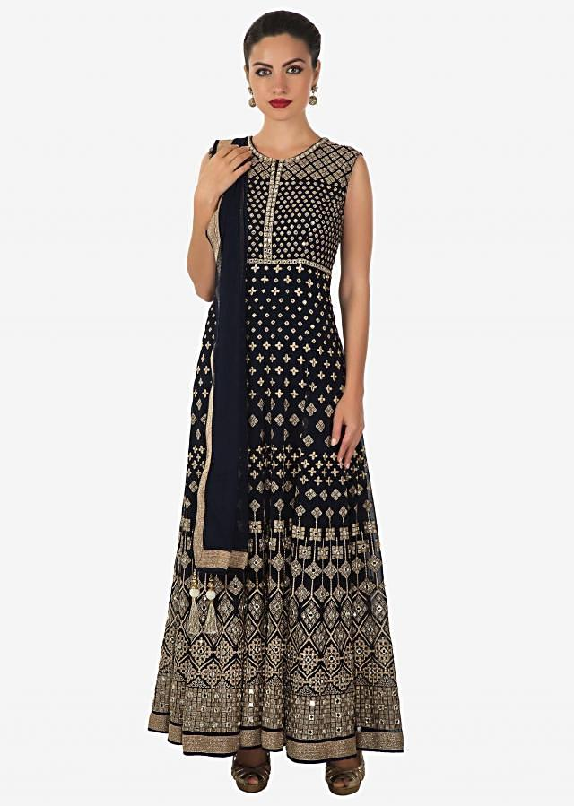 Navy blue anarkali suit adorn in resham and mirror work all over only on Kalki