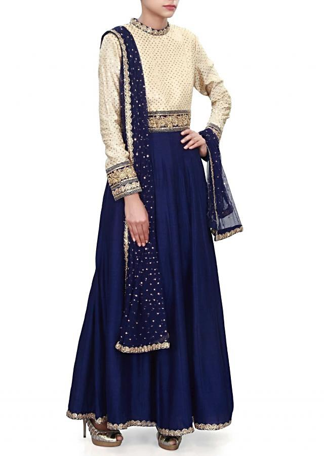 Navy blue anarkali suit adorn in sequin and zardosi embroidery only on Kalki