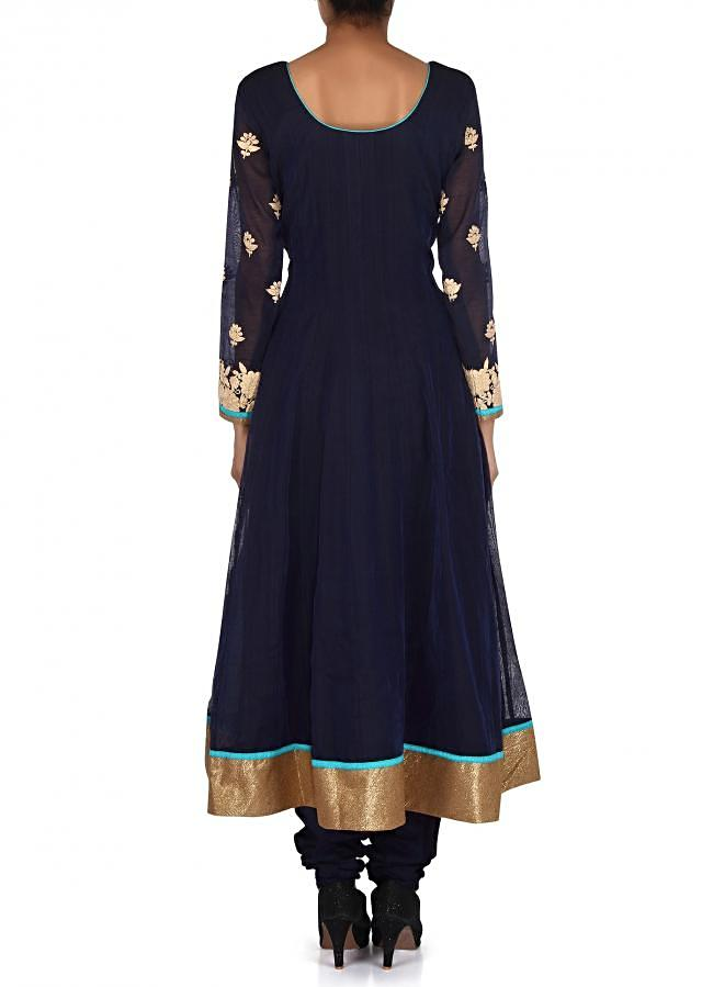 Navy blue anarkali suit adorn in thread embroidery only on Kalki