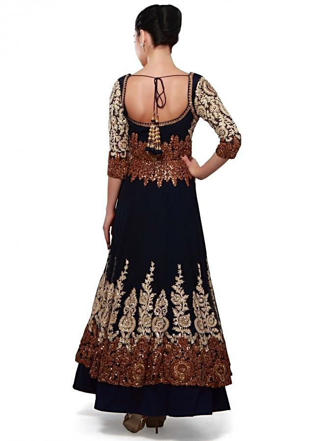 Navy blue anarkali suit adorn in zari and thread embroidery only on Kalki