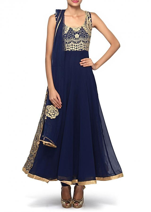 Navy blue anarkali suit adorn in zari embroidery only on Kalki