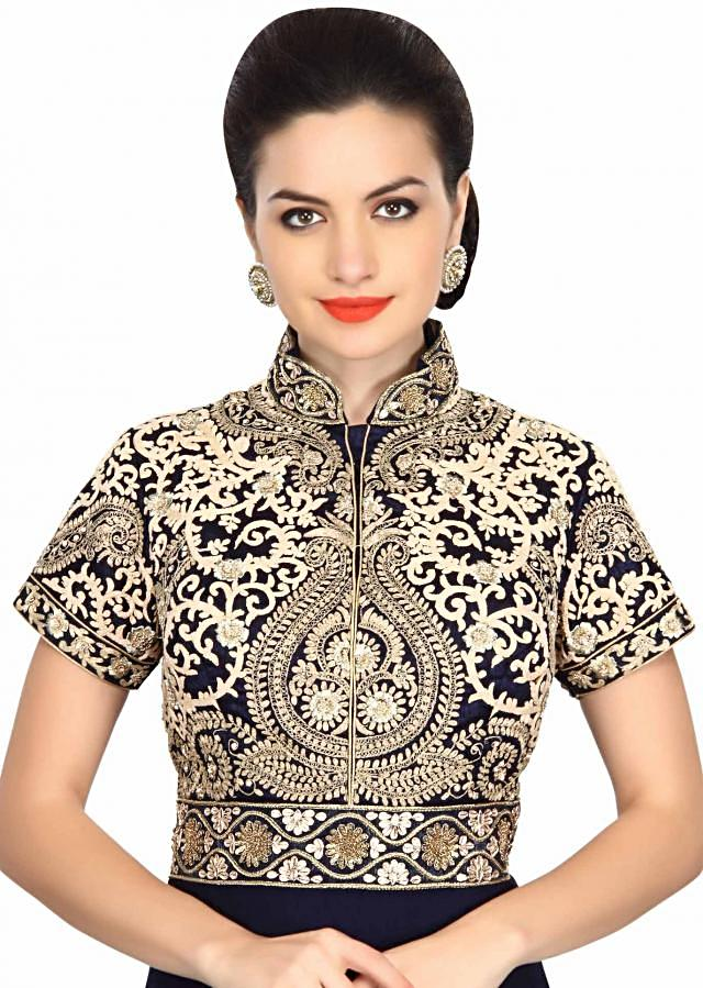 Navy blue anarkali suit embellished in thread and zardosi embroidery only on Kalki