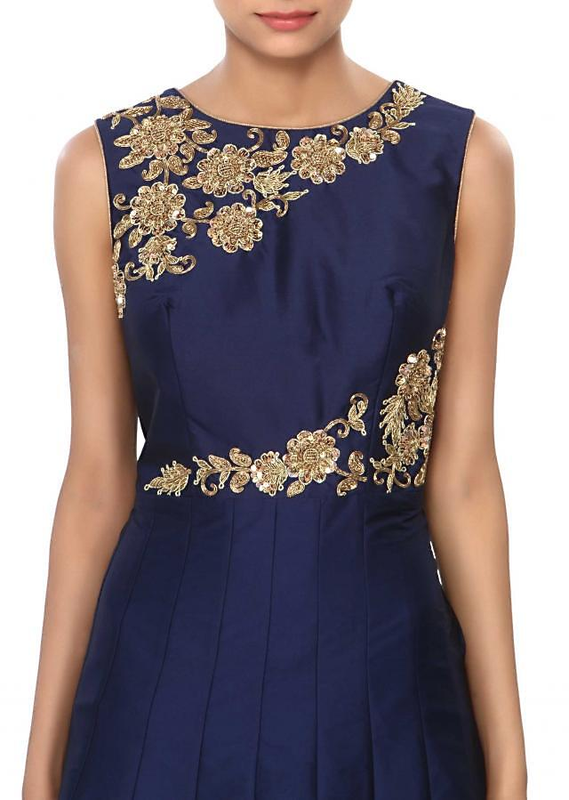 Navy blue anarkali suit embellished in zardosi and sequin embroidery only on Kalki